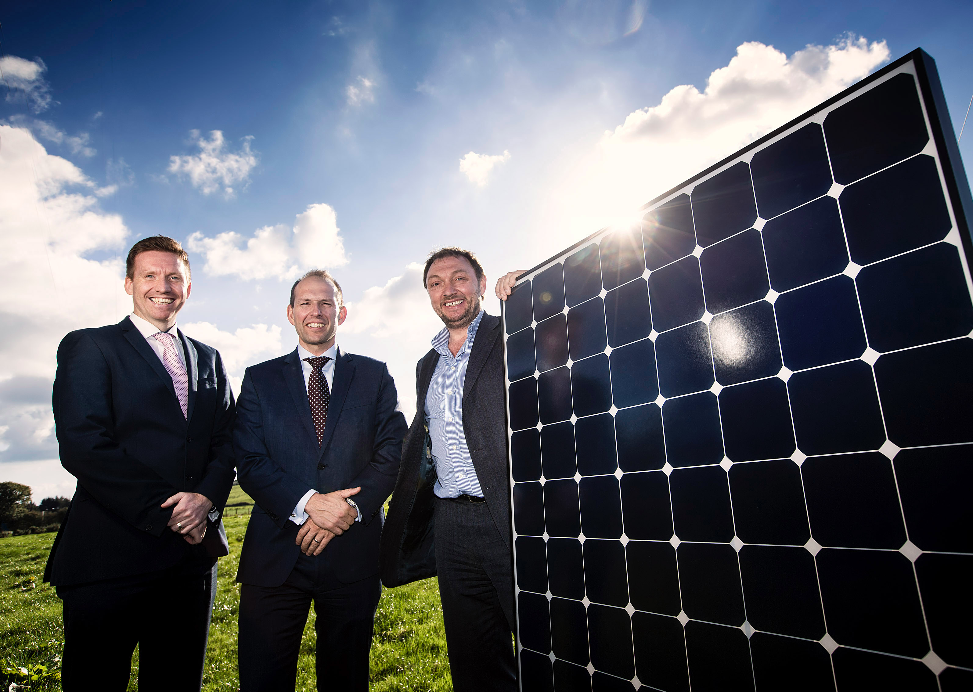 Dale Farm is soon to become a green energy leader in the dairy sector worldwide following the confirmation of a new build 'private wire' solar farm in Cookstown, County Tyrone. Pictured at the annoucement is Dale Farm Group Operations Director, Chris McAlinden, alongside Group Chief Executive of Dale Farm Nick Whelan and Chief Executive of CES Energy, Tom Marren. - Ends - Photos: Brian Morrison