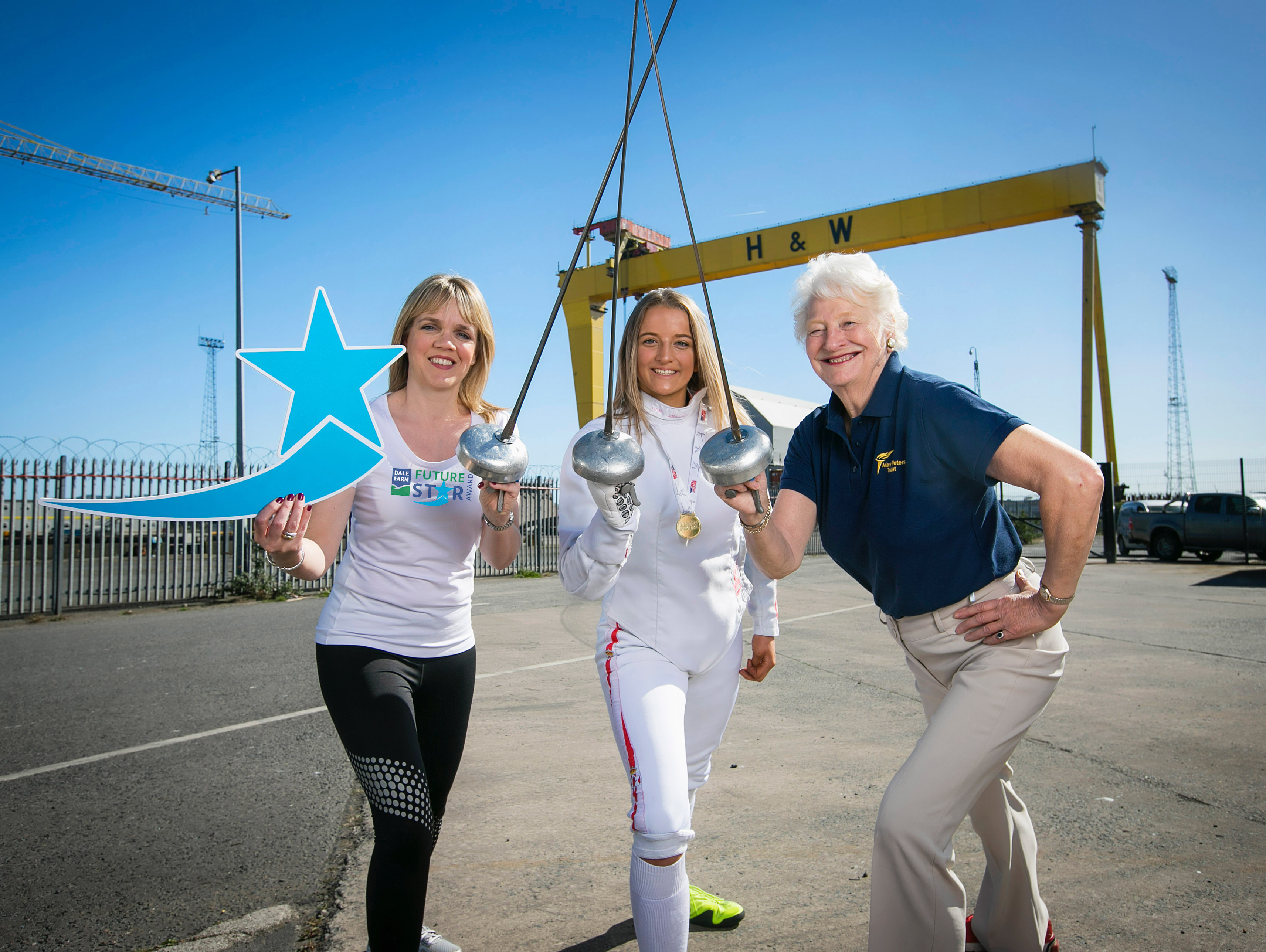 Lisburn's Charlotte Slater (16 years old), who last month won fencing's British Youth Championships (under 16s) for the third time, helped launch the Dale Farm FutureStar Award alongside Dale Farm Head of Marketing Caroline Martin and Dame Mary Peters DBE this week. The Dale Farm FutureStar Award will award one NI athlete with a £5,000 bursary alongside a supply of dairy products, new kit and skills training. Visit www.marypeterstrust.org for information / applications
