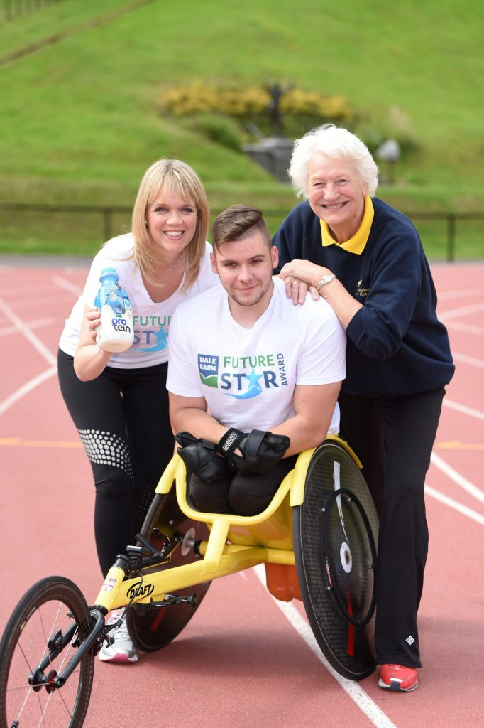 Caroline Martin, Head of Marketing, Dale Farm; athlete Jack Agnew, recipient of the Dale Farm FutureStar 2017 Award and Dame Mary Peters CH DBE Picture by Marie Therese Hurson